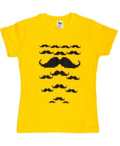tricou femei galben cu mustati